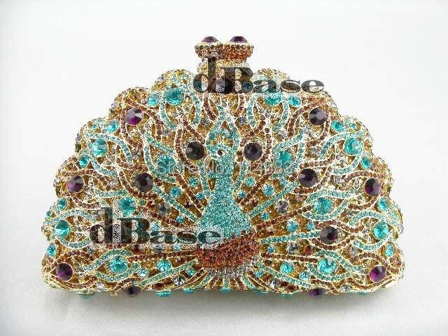 ФОТО 8105TO Multi-color Crystal Peacock Animal Bird Wedding Bridal Party Night hollow Metal Evening purse clutch bag case