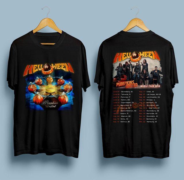 2d905b44c Helloween Pumpkins T-Shirt United World Tour 2018 Dates Black Size Men T  Shirt Print