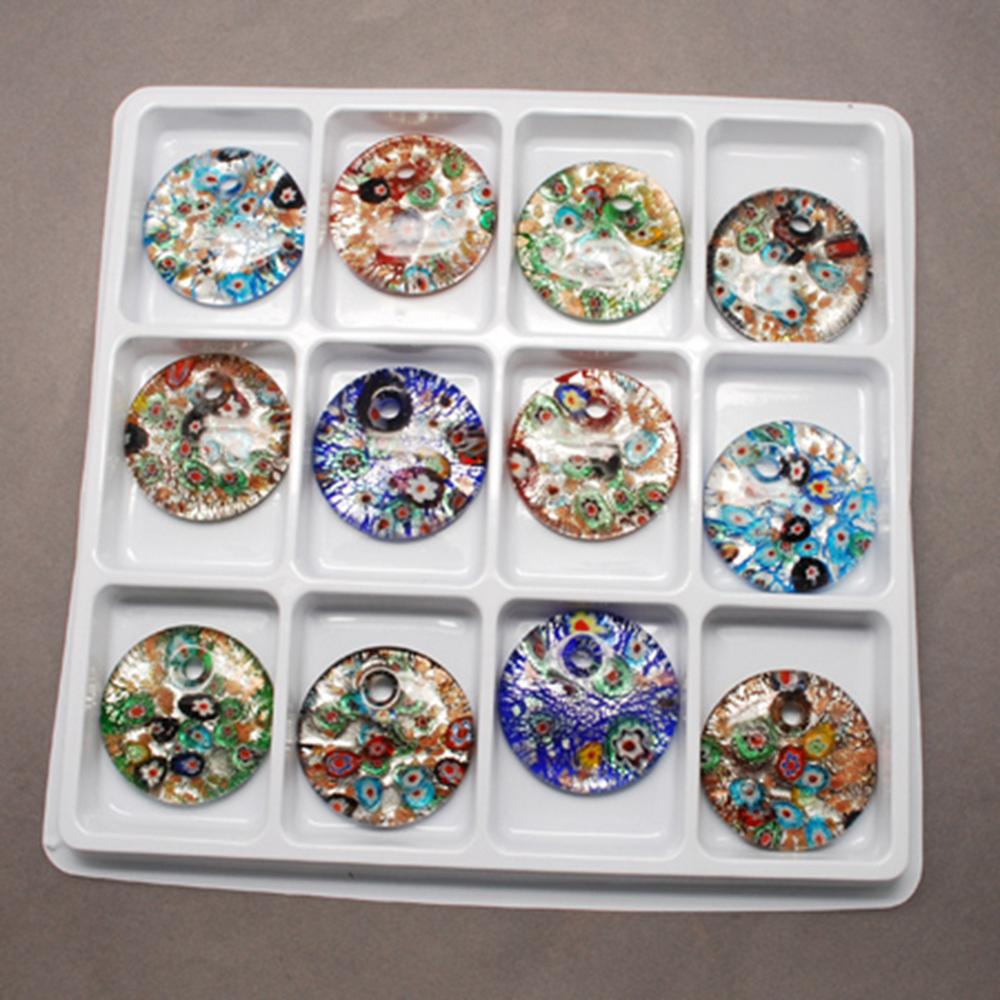 2Boxes Handmade Silver Foil Lampwork Pendants with Gold Sand Flat Round Mixed Color 41x10mm Hole 5mm