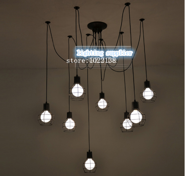 Loft Antique Retro Spider Chandelier Art Black DIY E27 Vintage Adjustable Edison Bulb pendant lamp Haning Fixture Lighting e27 brass material diy pendant light fixture edison globe bulb 40w g125 vintage copper fabric wire lighting fixture chandelier