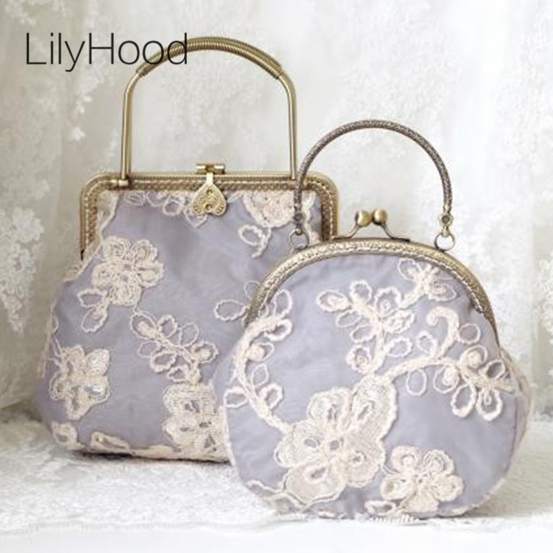 LilyHood 2017 Women Shabby Chic Lace Shoulder Bag Lady Handmade Vintage Retro Chic Victorian Style Wedding Kiss Lock Handbag Bag набор ножниц archimedes stabi 90693