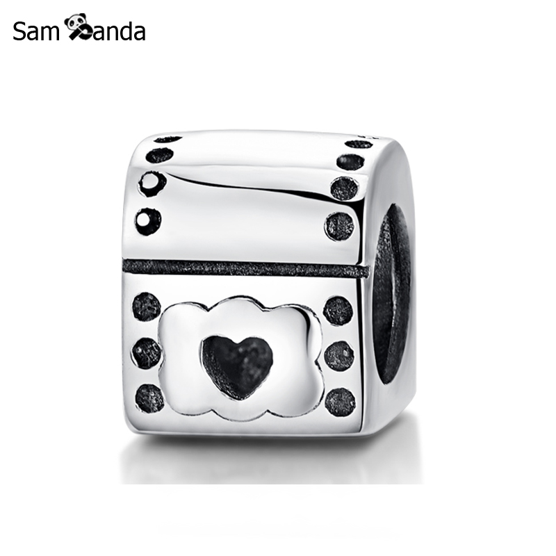 Authentic 925 Sterling Silver Charm Bead Love Heart Mailbox Fit Pandora Charm Bracelets & Bangles DIY Fine For Women Jewelry