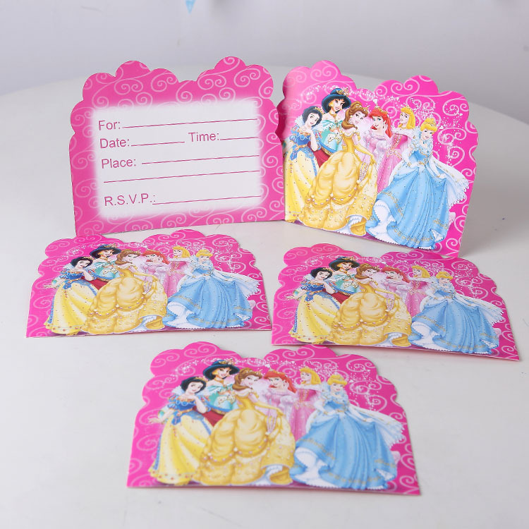 unidslote nias fuentes del partido del tema de la princesa tarjeta de invitacin