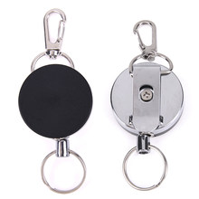 1PCS Stainless Steel Retractable Resilience Steel Wire Rope Elastic Casual Badge Reel Retractable Key Ring ID Card Holder Clips(China)
