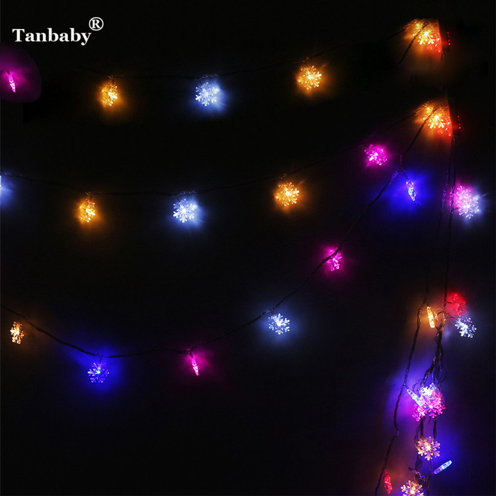 Tanbaby 10M 60LED Colorful LED String Light 110V 220V Snowflake Ball Fiber Star Hairball Outdoor Holiday Deco 8 Mode With EU/US
