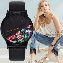 Модные женские наручные кварцевые часы с цветочным узором из кожи, повседневные женские часы, черные часы, подарок для женщин