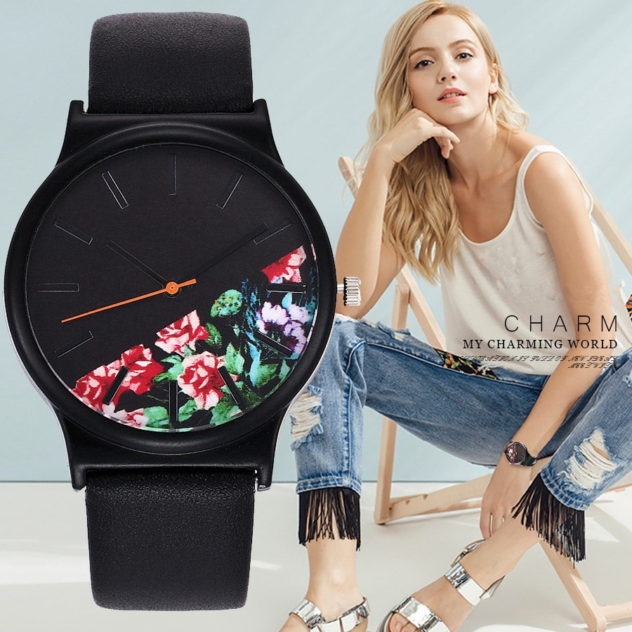 Fashion Flower Leather Montre Femme Casual Dress Watch Ladies Wrist Quartz Watch Women Watches Black Clock Relogio Feminino Gift women quartz wrist watch vintage lace flower printed ladies watches casual leather band analog women s watch montre femme reloj