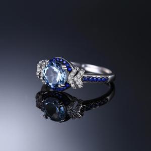 Image 3 - Jewelrypalace красиво площади создания Сапфир 3 Камни кольцо стерлингового серебра 925 Свадебные украшения Юбилей подарки