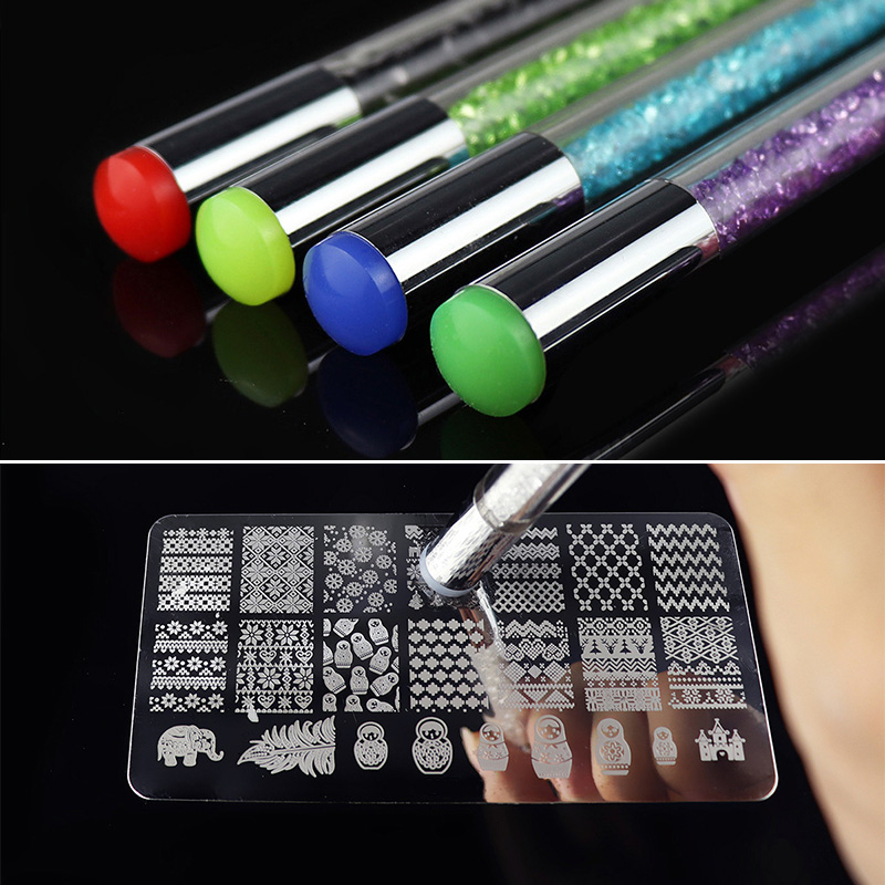 Image 5 - Colorful Dual ended Nail Art Brushes Stamper Sponge DIY Manicure Rhinestone Handle Brush Blooming UV Gel Pen-in Nail Art Templates from Beauty & Health