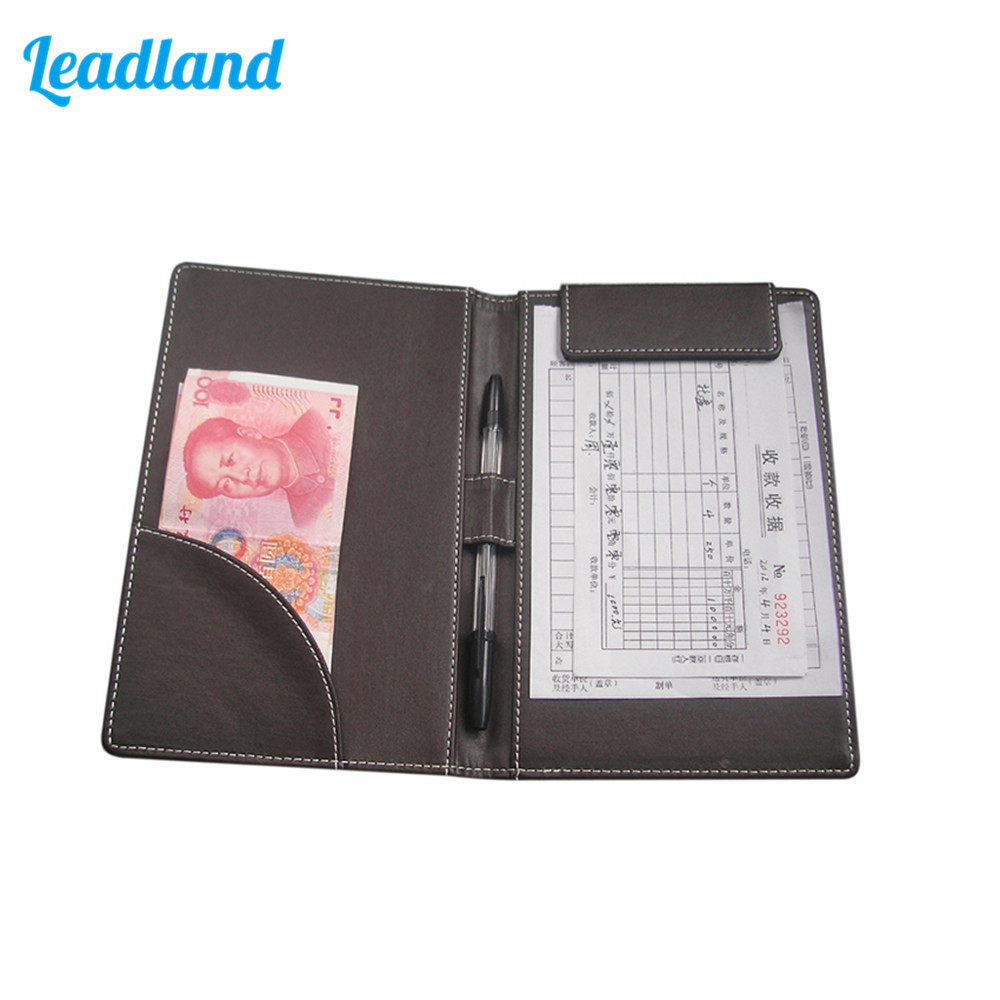 Modern PU Faux Leather Cashier Clip Bill Folder File Holder for Hotel Bar Salon KTV Restaurant a4 leather discolor manager file folder restaurant menu cover custom portfolio folders office portable pu document report cover