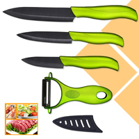 Beauty Gift Kitchen Knives Fruit Utility Slicing Ceramic Knives High Quality Peeler Green Handle Black Blade