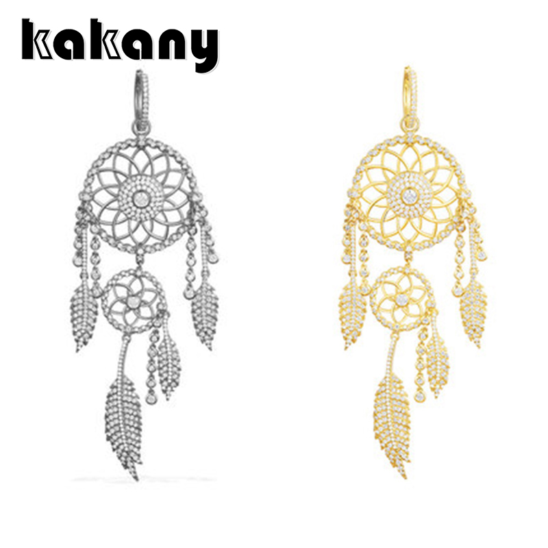 KAKANY 925 sterling silver Single gold and grey diamond DREAM CATCHER earrings Original high quality 1:1 fashion jewelryKAKANY 925 sterling silver Single gold and grey diamond DREAM CATCHER earrings Original high quality 1:1 fashion jewelry