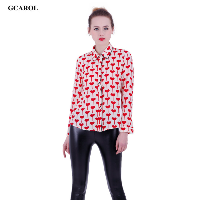 GCAROL Women Red Heart Chiffon Blouse Fashion Sweet Elegant Shirt High Quality Bright Color Rayon Tops For 4 Season