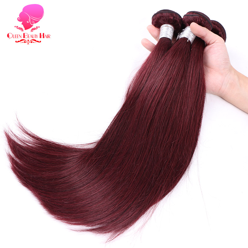 QUEEN BEAUTY 1/3/4 Pcs Lot Burgundy Brazilian Hair Weave Bundle Straight Remy Hair 99J Red Color Hair 12 - 30 Inch Free Shipping