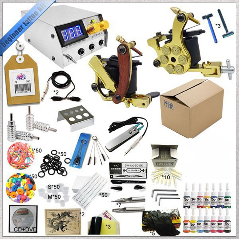 Professional 1 Sets Tattoo Ink Kits 2 Gun Complete Machine +Teaching CD+Pigment +Needles for Beginners Body Art Beauty Tools professional tattoo kits liner and shader machines immortal ink needles sets power supply