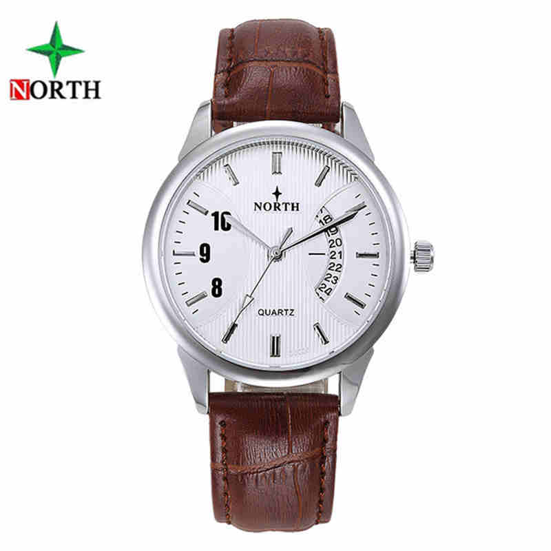 NORTH 2017 Men Waterproof Sport Wrist Watch Fashion Quartz Male Clock Casual Genuine Leather Strap Mens Watches Top Brand Luxury disu top brand 2017 men watches fashion simple quartz wrist watch business leather strap male sport rose gold dial clock ds039