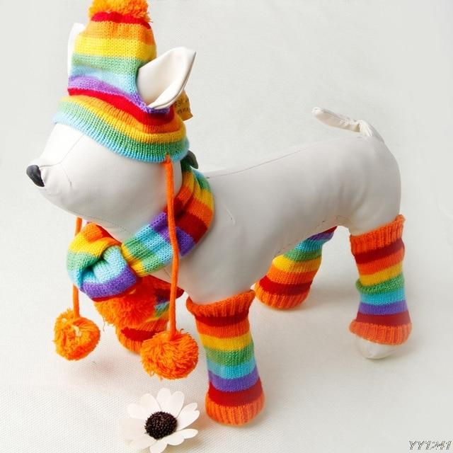 Productos para mascotas ropa para perros raya bufanda sombrero hecho punto  capa del perro perrito perro vestir para 4 tamaño perro abrigos y jackets  ... 62ff9d692cf