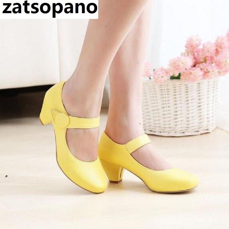 Zatsopano Designer Shoes Women Mary Jane Round Toe 4.5cm Mid Heels Lady Shoes Chunky Heels Wedding Pumps Pink Yellow Women Shoes