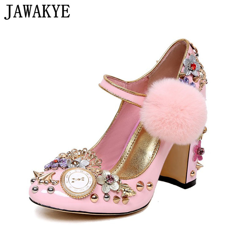 Sweet Pink Women Pumps Rivets Studded Chunky High Heels Mary Janes flowers crystal wedding Shoes for ladies clsaaic Stilettos pink white flowers sandals women crystal studded crossover chunky high heels runway rhinestone summer wedding shoes for ladies