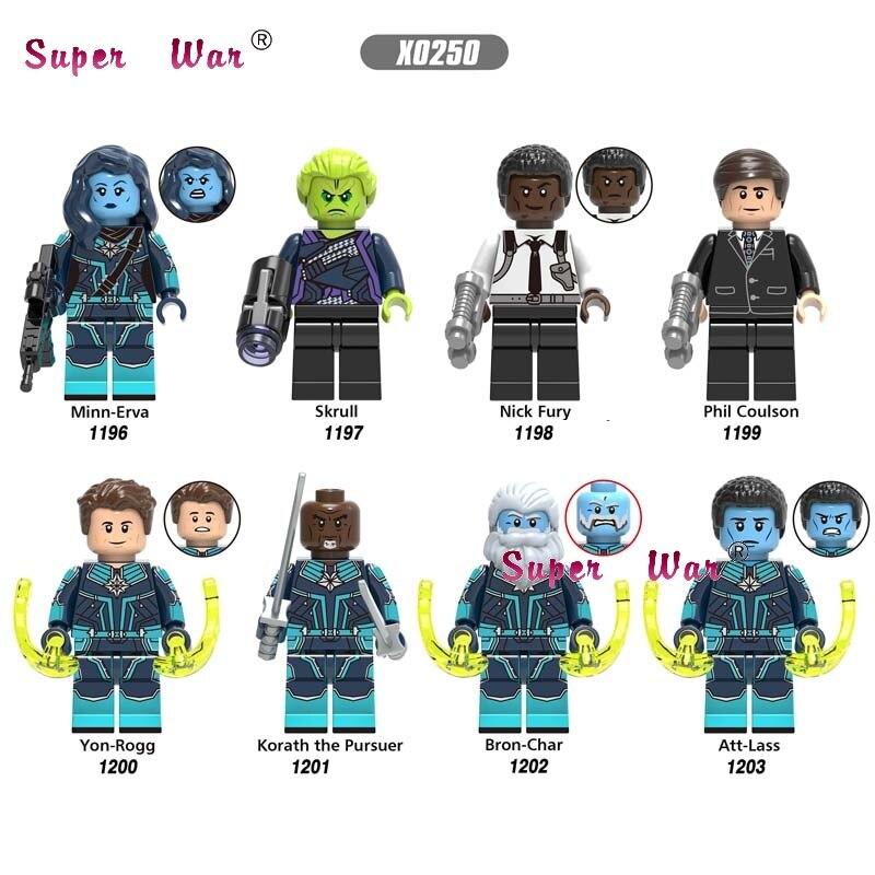 Single Captain Marvel Movie Minn Erva Skrull Nick Fury Phil Coulson Korath The Pursuer  Building Blocks Toys For Children