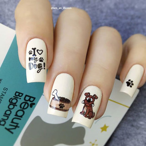 Image 5 - BeautyBigBang 6*12cm damgalama çivi kedi köpek görüntü plakası tırnak damgalama tabaklar Nail Art şablon kalıp BBB XL 008