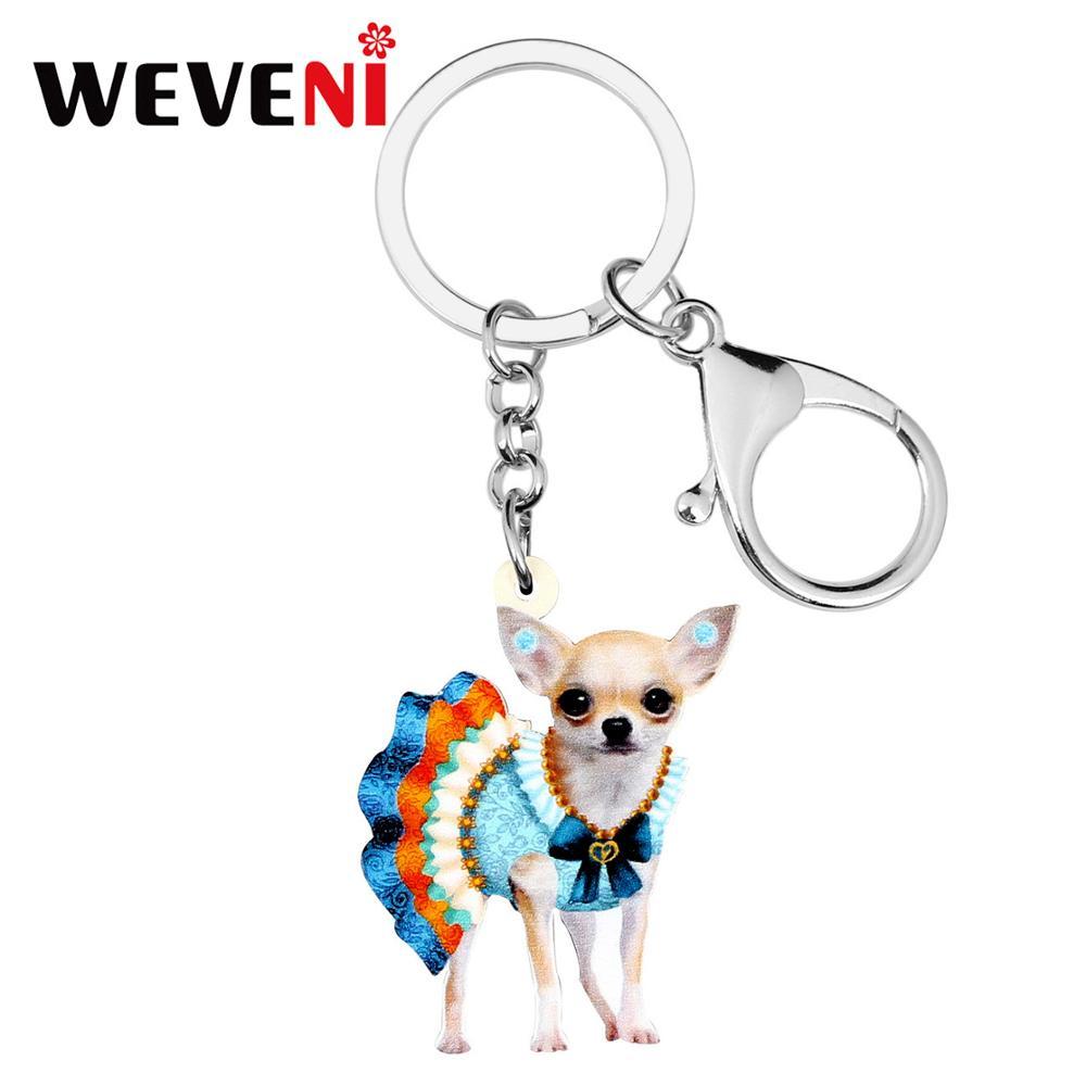 WEVENI Acrylic Colorful Skirt Chihuahua Dog KeyChain Key Rings Fashion Animal Jewelry For Women Girls Teens Charms Lots Gift