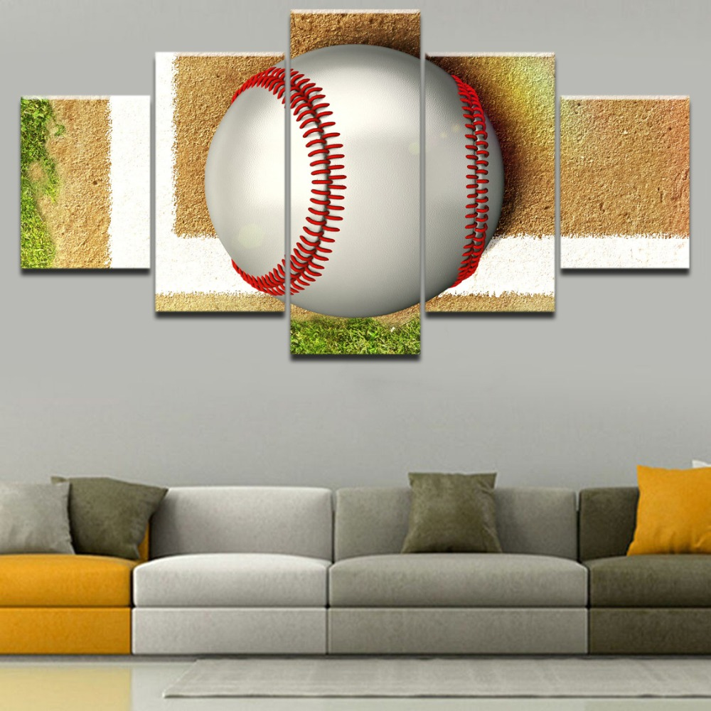 Canvas Art Printed 5 Panel Tennis Ball Painting Modern Home Decorative Bedroom Wall Picture Modular Framework Sports Poster