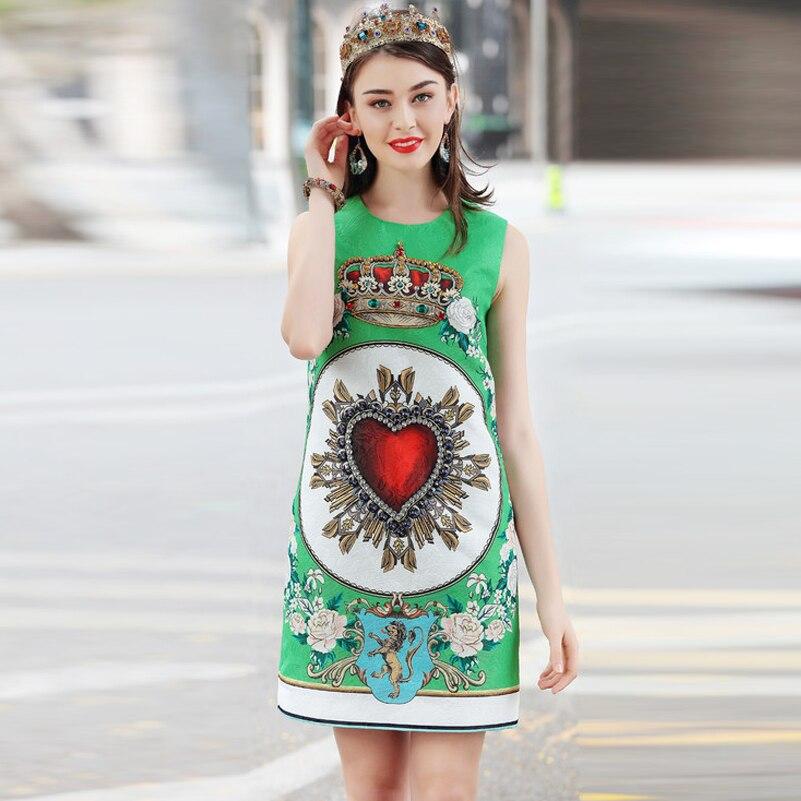 Haute qualité 2019 nouvelle robe de créateur de mode d'été modèle de gilet des femmes décontracté élégant perles diamants robe verte