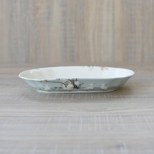 Boutique European Hand Painted White Crane Bone China Long Plate Dessert Dish Fruit Plate Home Dish Cold Dish Salad Plates Tray