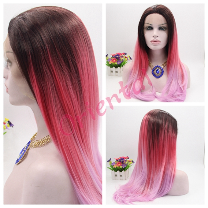 Free Shipping Glueless Heat Resistant Long Black Red Light Pink Ombre Hair Synthetic Lace Front Wig For Woman On Aliexpress Alibaba Group