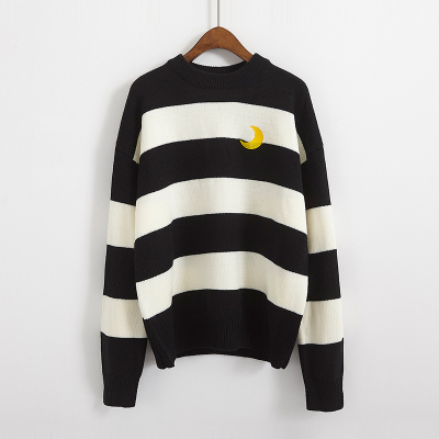 Women's Sweaters Kawaii Ulzzang College Candy Color Stripes Moon Sets Embroidery Sweater Female Harajuku Clothing For Women Lady 7