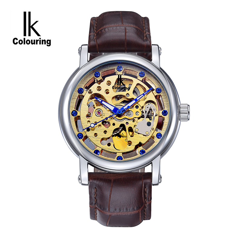 2017 Luxury IK Coloring Casual Men's Skeleton Dial Auto Mechanical PU Leather Strap Wristwatch with Box Free Ship casual watch 2017 women s four leaf clover floral crystal skeleton auto mechanical wristwatch with box free ship