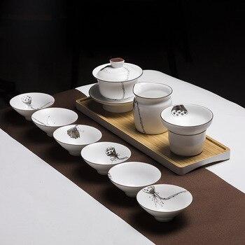 Jingdezhen hand-painted white porcelain Kung Fu tea set ceramic cover bowl tea cup household 6 people complete tea set gift box
