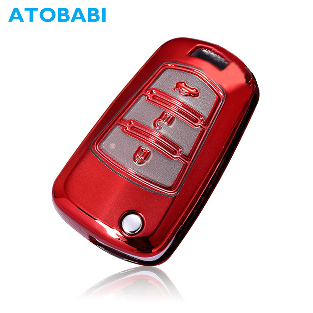 ATOBABI Car Key Case Soft TPU Flip Remote Fob Shell Cover Folding Keychain Protector Holder Auto Accessories for Haima S5 M3 M6