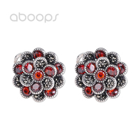 Vintage 925 Sterling Silver Flower Leverback Earrings with Red Cubic Zirconia for Women Girls Free Shipping