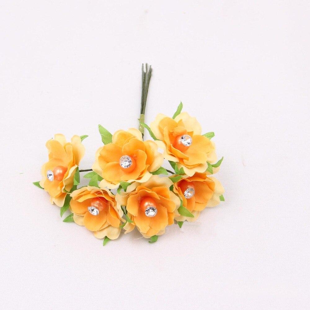 3.5CM/48PCS High Quality Small Fabric Artificial Silk Plum Blossom Flower With crystals,girl hair wreath,DIY Wedding Decorations