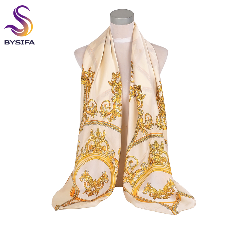 [BYSIFA] Beige Gold Silk   Scarf   Shawl Women Oversize Satin Silk Square   Scarves     Wraps   Autumn Winter Muslim Head   scarf   135*135cm