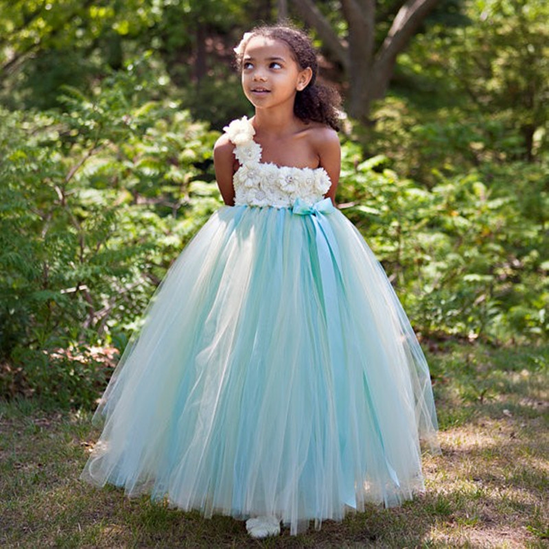 Hot 2016 Blue One Shoulder Little   Girls   Ball Gown   Flower     Girl     Dresses   Sleeveless Elegant   Dresses   For   Girls   Vestidos de comunion