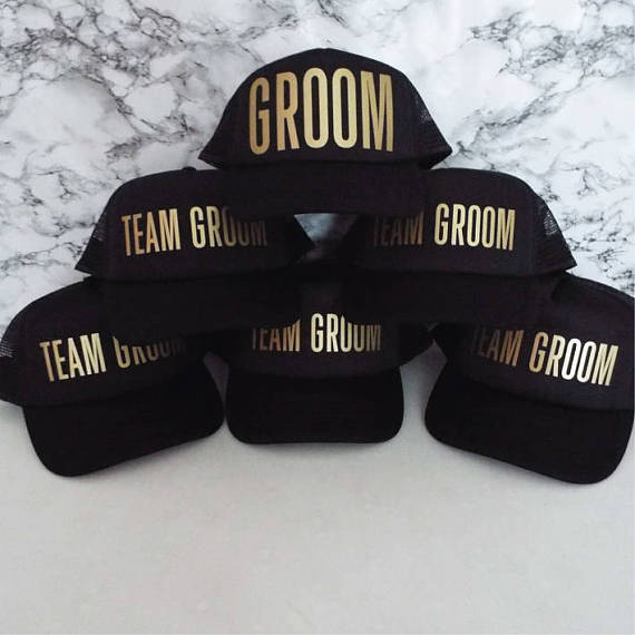 e4d55d38b21 PERSONALIZE TEAM GROOM wedding groomsmen Bachelorette Stag Party Mesh  Trucker Snapback trucker hats caps gifts favors