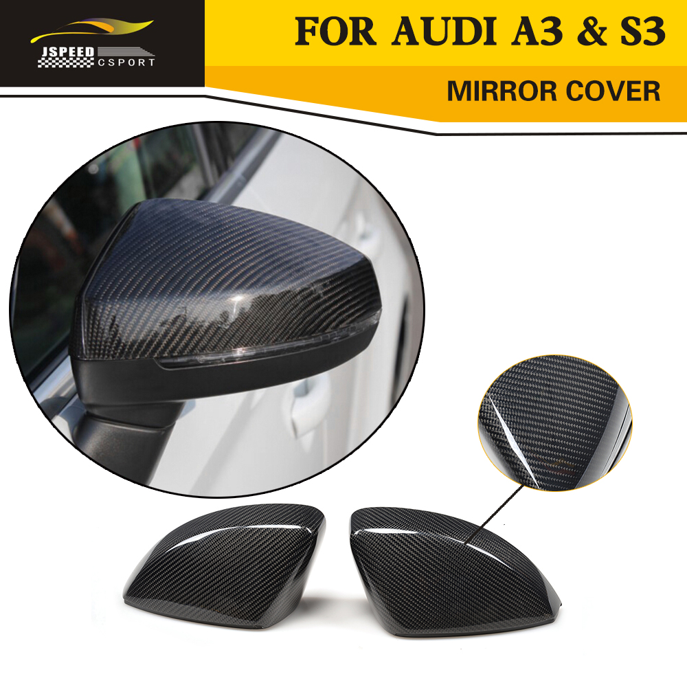 Car Styling Carbon Fiber Replacement Mirror Covers Caps For Audi A3 Standard S line S3 RS3 8V 14 16 Hatchback Sedan Convertible