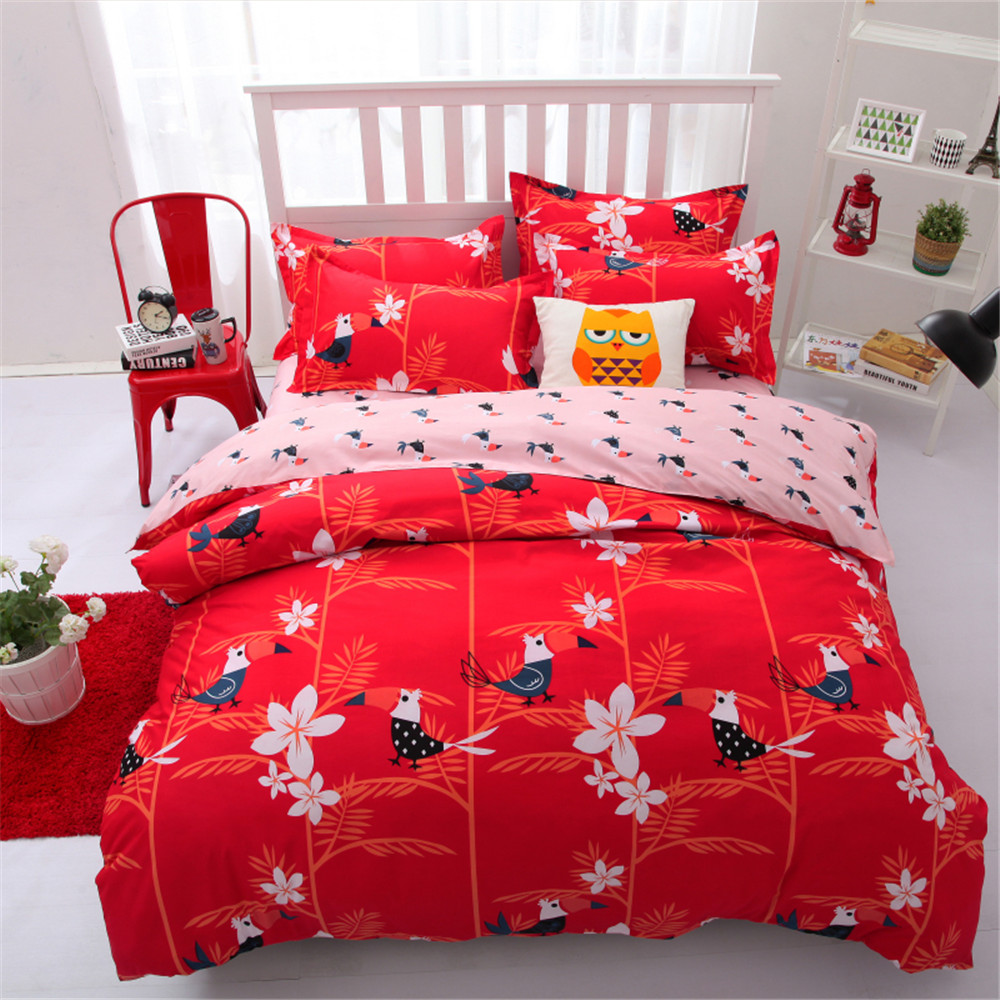 Bed sheets for wedding - Birds And Floral Comforter Bed Bedding Sets Kids 4 5pcs Printed Red Cartoon Quilt Duvet