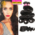 Braizlian Virgin Hair Body Wave Bundles With Closure 3 Bundles Queen Hair Products Brazilian Body Wave Bundles With Closure