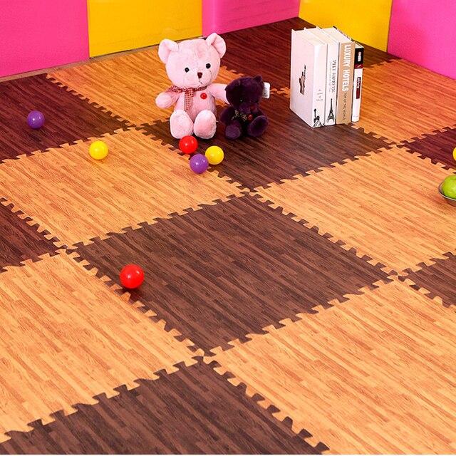 30*30cm EVA Foam Floor Mat Wood Stripe Cushion Carpet Faux Wood Grain  Ground Kitchen