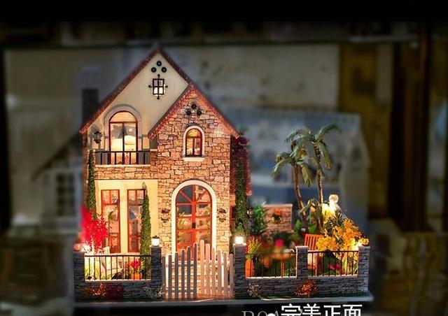Diy houses love apartment creative cabin model assemble wooden