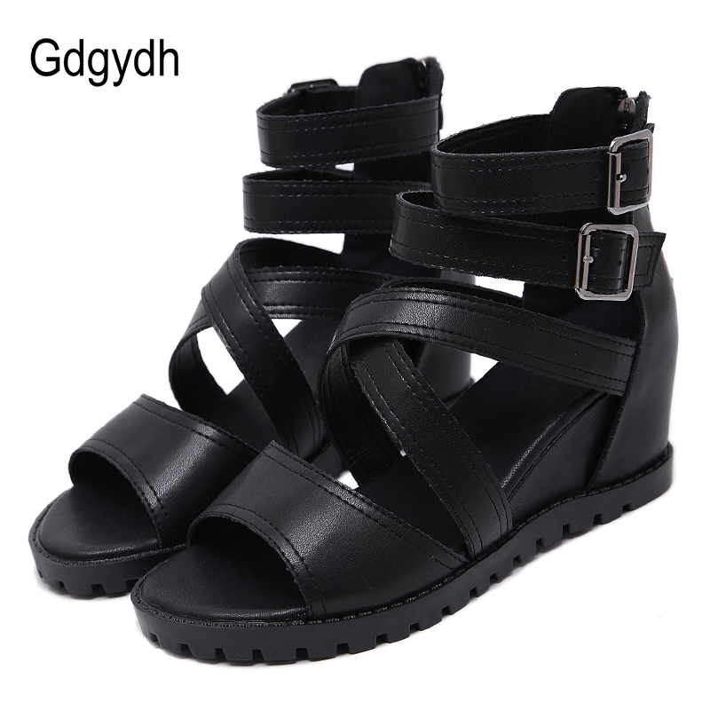 Gdgydh New Arrival Ankle Strap Wedge Heel Gothic Style Punk Sandals Ladies Summer Shoes Casual Fashion Buckle With Zipper BlackGdgydh New Arrival Ankle Strap Wedge Heel Gothic Style Punk Sandals Ladies Summer Shoes Casual Fashion Buckle With Zipper Black