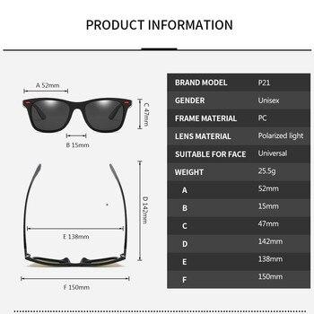 ZXWLYXGX Classic Polarized Sunglasses Men Women Brand Design Driving Square Frame Sun Glasses Male Goggle UV400 Gafas De Sol 6