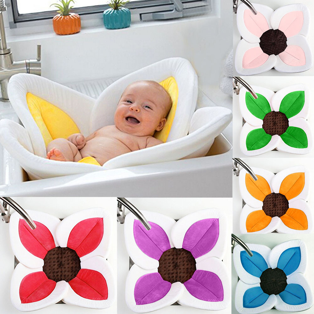 Baby Blooming Bath Flower Bathtub Mat Sink Bath For Baby Sunflower Cushion Safety Fold Shower Play Bath Seat Support Bath Chair