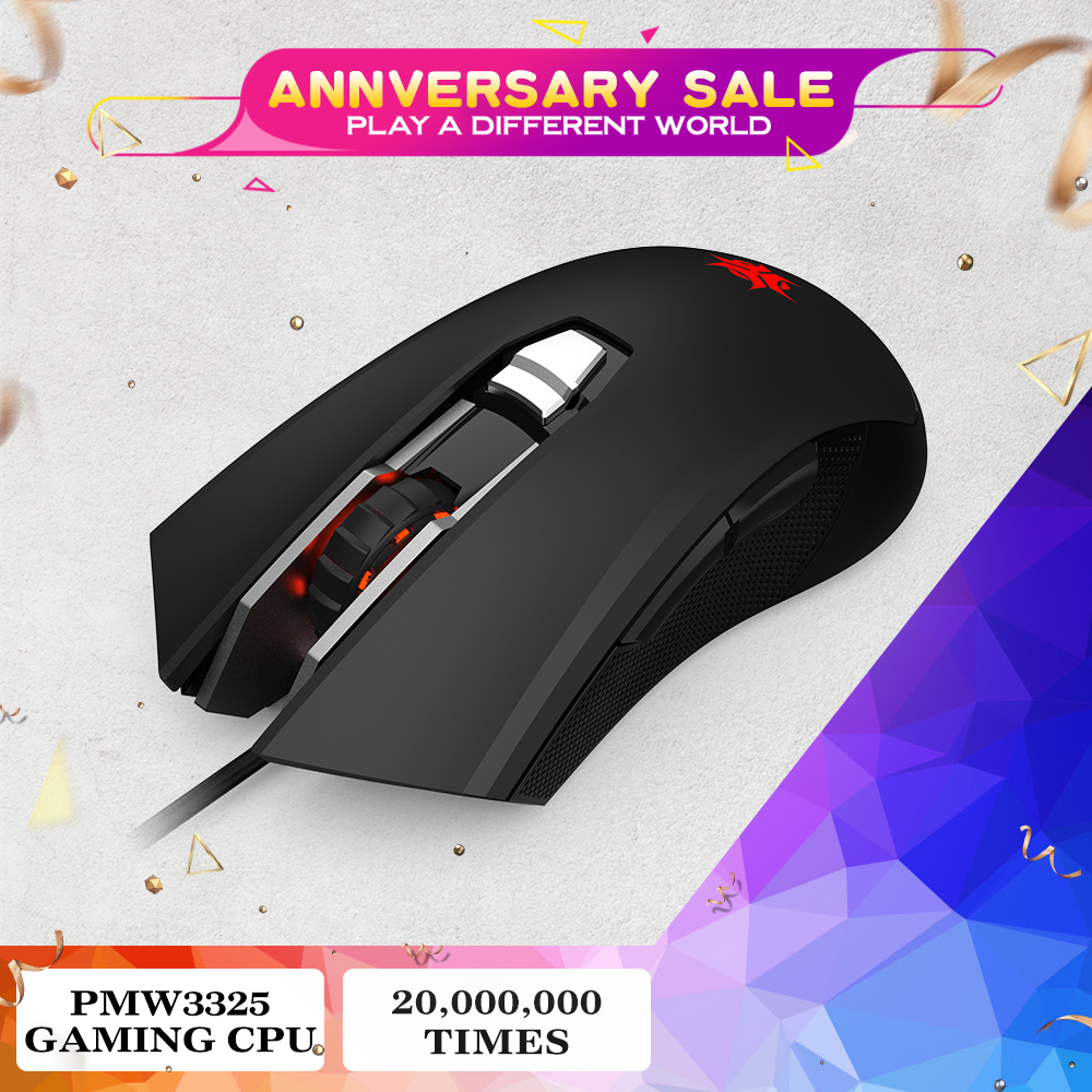 HEXGEARS M33 Professional Gaming Mouse Wired RGB Backlit 5000DPI Mouse Gamer Mice 6 Button Mause Muis