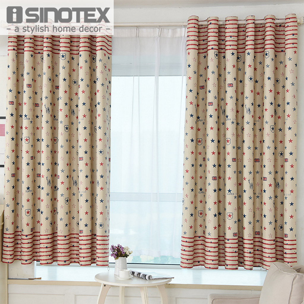 Window Curtain Blackout Blinds Star Printed Polyester Fabric Woven ...