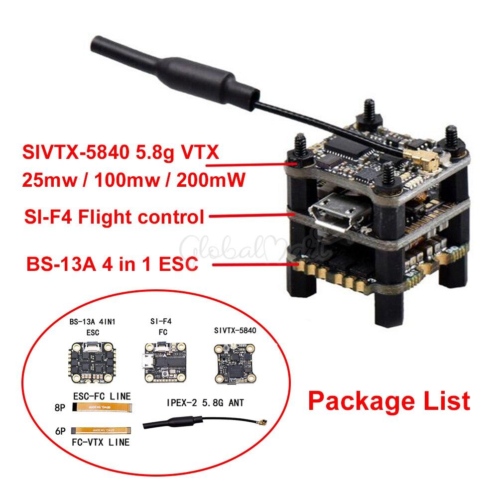 F4 Flytower SIF4 F4 Flight Control w BEC 2A ESC BS-13A 13A 2-4S 4IN1 ESC + SIVTX-5840 25100200mW transmitter OSD adjustment (1)